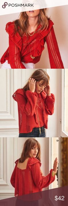 3ab688dbdd235 Sezane 44 red line crochet lace blouse Sezane blouse. Size 44. Does have a