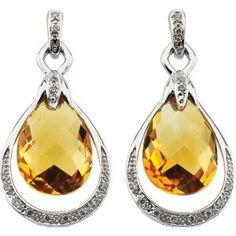 Citrine Briolette and Diamond Earrings, 1/8 CTW, 14kt white. Find it at a jeweler near you: www.stuller.com/locateajeweler