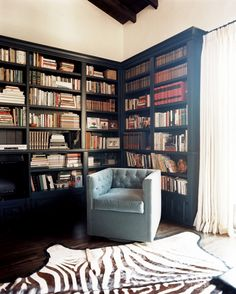 Black built-in bookcases surrounding a reading nook