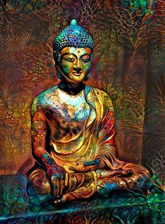 Buddha Artwork, Buddha Wall Art, Buddha Zen, Buddha Painting, Buddha Buddhism, Krishna Painting, Buddhist Art, Golden Buddha Statue, Art Painting Tools