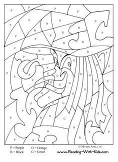 Halloween Color By Letter Witch coloring page (and dragon coloring pages) Make your world more colorful with free printable coloring pages from italks. Our free coloring pages for adults and kids. Halloween Coloring Sheets, Witch Coloring Pages, Printable Coloring Pages, Coloring For Kids, Coloring Pages For Kids, Coloring Books, Colouring, Alphabet Coloring, Halloween Pictures