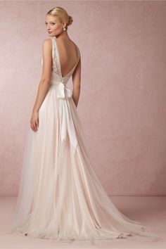 Tamsin Gown in Bride Wedding Dresses at BHLDN ...The back of this gown is absolutely stunning. The front isn't my favorite, but the back has the wow factor for sure.