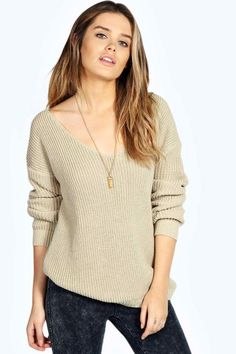 ed624b97b14bc Sasha Oversized V Neck Jumper Cropped Sweater