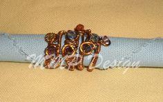 inel din sarma de cupru cu pietricele multicolore
