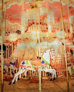 Carousel photo: A white horse on a coral-colored carousel.....This carousel is located near the Eiffel Tower.....  TITLE: A Carousel for Vuillard -- par2 MATERIALS: Archival fine art print on photo paper or mounted canvas. Frames are not included. Watermarked logo will be not appear on final print. See below for details. ► SIZES and PRICES: Choose from dropdown list above. ► OTHER SIZES (smaller prints, larger prints, posters, square formats, etc.): https://www.etsy.com/shop&#x...