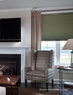 Easily install #Lutron shading systems to diffuse daylight and prevent glares on your television screen. #DIY #Shades