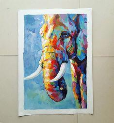Véritable main peinte Elephant impressionniste peinture à