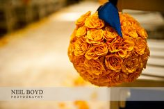 Pomander for Flower girl and aisle markers. Orange wedding flowers with navy blue ribbons. Hang on chairs during ceremony. Re-use on guest dinner table? Church Wedding Flowers, Orange Wedding Flowers, Church Wedding Decorations, Flower Bouquet Wedding, Wedding Colors, Wedding Navy, Trendy Wedding, Blue Color Pallet, Color Pallets
