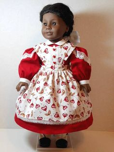 """3-Piece Civil War Valentine Dress, Apron, and Fancy Drawers for 18"""" dolls"""