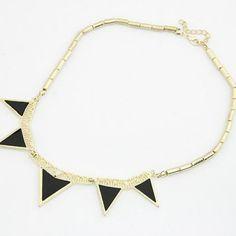 Black Geometric Triangle Design Necklace