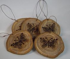 Tree Hang Tags Ornaments Natural Eco-friendly Butterfly Wood-burned Art:
