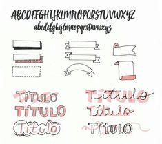 Umbulletjornal nada mais é do que um caderno que você usa fazer uma coisa chamada rapid logging, ou seja, anotar rapidamente as suas tarefas do dia. O objetivo é tornar as suas listas de afazeres em uma coisa prática e fácil. Lettering Tutorial, Hand Lettering Fonts, Brush Lettering, Typography, Calligraphy Borders, Cute Calligraphy, Bullet Journal School, Bullet Journal Inspo, Stabilo Boss