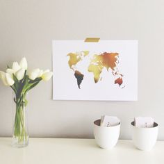 Wanderlust Gold & Silver Foil A4 Print World by MissPoppyDesign, $18.95  I like the idea of putting this in a shadow box and pinning places we've traveled.