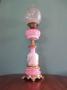 ANTIQUE VICTORIAN (1870) FALKS CRANBERRY/PINK OIL LAMP WITH ETCHED GLOBE SHADE #ArtNouveauArtDecoRegencyVictorian #Lamps