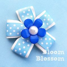 Pearl flower with polkadot ribbon bow by BloomBlossomDays on Etsy https://www.etsy.com/listing/228169903/pearl-flower-with-polkadot-ribbon-bow