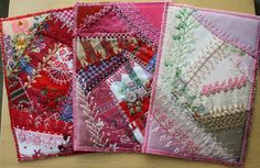 I ❤ crazy quilting & embroidery . . .  some cards ~By Ritva Peltola