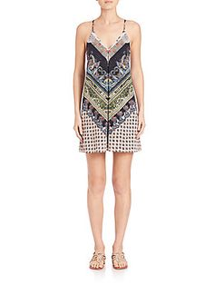Alice + Olivia Fierra Silk Tank Dress - Chevron Paisley - Size