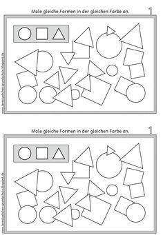 Lernstübchen: GEO Formen gleich anmalen Kindergarten Portfolio, Pre Kindergarten, Math Literacy, Fun Math, Future School, Nursery School, Kids Education, Pre School, Kids Learning