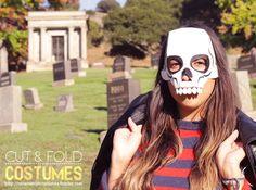 "Cut Costumes ""Skeleton"" Mask  http://cutandfoldcostumes.tumblr.com/post/33253952689/cut-and-fold-costumes-1-skeleton #DIY #halloween #fashion #skeleton #skull"