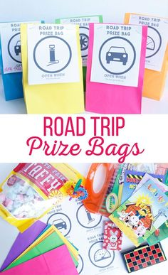 "If you're planning a family road trip, chances are you will need these Road Trip Prize Bags. These kid friendly bags provide entertainment that is sure to give you a break from hearing, ""Are we there Kids Travel Activities, Road Trip Activities, Road Trip Snacks, Road Trip Games, Road Trip Crafts, Holiday Activities, Family Activities, Toddler Travel, Travel With Kids"
