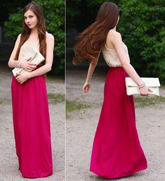 Tambukiki Pink Romantic Boho Long Maxi Dress, Vj Style Beige Clutch Bag