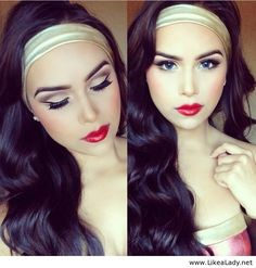 FOR MAYBE WONDER WOMAN INSPIRED BUT INSTEAD OF A GOLD HEADBAND IT COULD BE RED AND CLASSIC PIN UP STYLE MAKEUP WITH THE SOFT WAVED HAIR