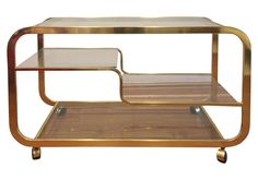 Milo Baughman Mid-Century Brass & Glass Bar Cart | Chairish