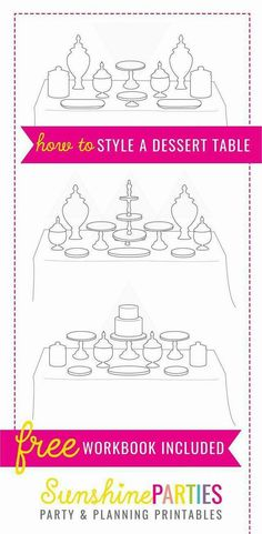 FREE How To Create A Party Table Style Guide - learn about how to create the perfect party table, learn about colors and styling to make your next party just amazing! table FREE PARTY TABLE SET-UP GUIDE Party Food Buffet, Candy Buffet Tables, Dessert Tables, Buffet Ideas, Dessert Bars, Quick Dessert, Dessert Healthy, Babyshower Dessert Table, Diy Party Table