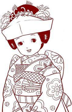 "VINTAGE JAPANASE COLORING BOOK by ""Kiichi Tsutaya"" Japanese Artist"