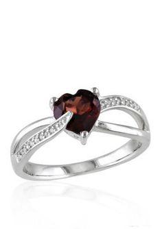 Belk  Co.  Garnet and Diamond Ring in Sterling Silver