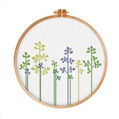 Lovely Grass cross stitch pattern, instant download modern design, flower cross…
