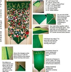 "Girl Scout S.W.A.P.S. Banner.  Holds hundreds of swaps!  29 1/2 inches wide and 59"" long."