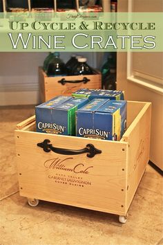 Check this out! We added wheels & handles to a couple wine crates & wah'la we have Frug-Elegant Organizers! Up Cycling & Recycling Wine Crates with wheels is so...