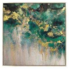 Champagne Skies, Multi blends bright, vivid colors of greens to create a vibrant abstract painting with metallic gold paint. Green Art, Green And Gold, Green Wall Art, Metallic Gold Paint, Green Paintings, Art Paintings, Outdoor Art, Indoor Outdoor, Gold Art