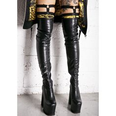 Current Mood Nightcap Thigh-High Boots ($95) ❤ liked on Polyvore featuring shoes, boots, over knee boots, black over the knee boots, over the knee boots, thigh boots and vegan boots