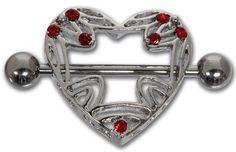 Brustwarzenpiercing Herz mit 7 Kristallen