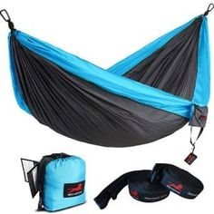 Single and Double Camping Hammock With Tree Straps. Portable Parachute Nylon Hammock for Backpacking and Camping Best Camping Hammock, Backpacking Hammock, Portable Hammock, Camping Cot, Camping Gear, Outdoor Camping, Indoor Outdoor, Backyard Camping, Motorcycle Camping