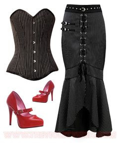 "Sexy fun and flirty smart office corset and skirt kissed with some red hot shoes to match your lipstick of course! Check out our Easter Spring Sale - save 20% Off Store-Wide with coupon code ""SPRINGSALE20"" until Monday April 21st!   Skirt- http://thevioletvixen.com/clothing/pinstripe-pinnacle-perfection-black-skirt/  Corset- http://thevioletvixen.com/corsets/boardroom-bombshell-overbust-black-white-corset/  Pin-Up Shoes - http://thevioletvixen.com/shoes/lady-janes-pumps/"