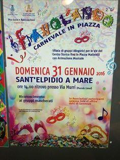 Domenica 31 Gennaio Carnevale in Piazza Sant'Elipidio a Mare  ore 14.00 presso via murri