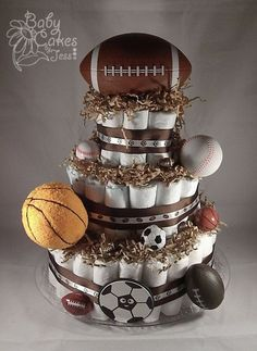 All Sports Diaper Cake - Perfect for the baby boy shower. by TamidP All Sports Diaper Cake - Perfect Baby Shower Diapers, Baby Shower Cakes, Baby Shower Parties, Baby Shower Themes, Baby Boy Shower, Baby Shower Decorations, Baby Shower Gifts, Baby Showers, Shower Ideas