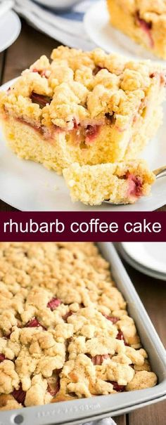 Rhubarb Coffee Cake {A Juicy Delicious Coffee Cake} rhubarb/cake/coffee cake This Rhubarb Coffee Cake is topped with crunchy streusel and studded with rhubarb! An easy-to-make sheet cake recipe that's perfect for spring and summer. via @tastesoflizzyt