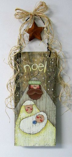 Hand Painted Nativity Scene on Barn Wood, Folk Art Nativity, Rustic Nativity, Rustic Christmas sign, Reclaimed Wood, Noel Sign, Christmas Sign, Mary, Joseph, and Baby Jesus, Christmas decor #ad