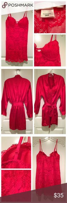Victoria's Secret Red Lace Nighty With Satin Robe Victoria's Secret Red Lace Nighty With Matching Satin Robe! Gorgeous and sexy - a must have for the upcoming holidays! Nighty is a 36B and robe is a small 💋 Victoria's Secret Intimates & Sleepwear Chemises & Slips