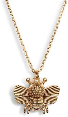 Kate Spade New York All Abuzz Bee Mini Pendant Necklace Quartz Crystal Necklace, Gold Necklace, Pendant Necklace, Mini Pendant, Fashion Necklace, Bee, Kate Spade, Pendants, Crystals