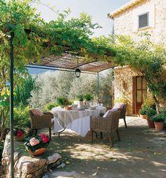 plantas trepadoras y mesa con mantel blanco bajo la pérgola