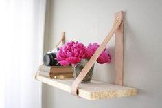 DIY leather-suspended shelf