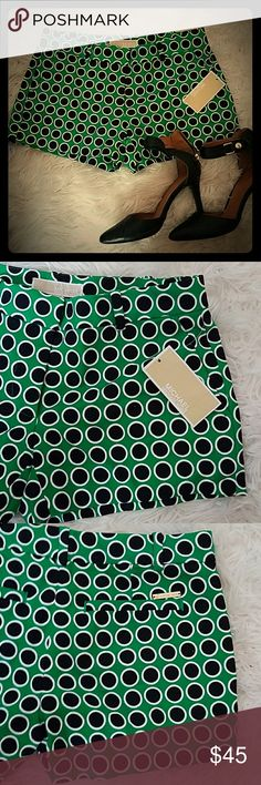 GORGEOUS Michael Kors shorts Brand new!  Bought and were sadly too small on me... NEVER WORN!  Green with black and white polka dots.   Make me an offer! MICHAEL Michael Kors Shorts