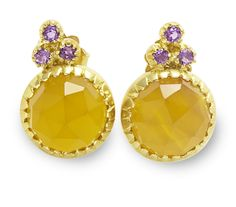 Laura Lee Fine Jewelry on Taigan. Love these. Yellow Chalcedony with 3 small amethysts set in 18c gold.