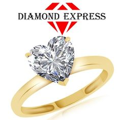 """1.71 Ct Heart Shape White Sapphire Solitaire Engagement Ring 14K Gold """""""". Starting at $89"""