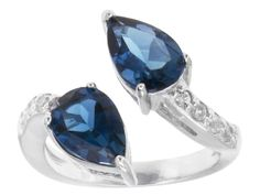 2.49ctw Pear Shape London Blue Topaz With .38ctw Round White Zircon Sterling Silver Ring